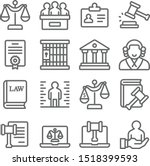 law and justice icons set... | Shutterstock .eps vector #1518399593