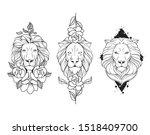Geometric Floral Lion Tattoo...