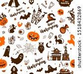 halloween symbols are depicted... | Shutterstock . vector #1518432869