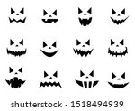 scary halloween pumpkin faces... | Shutterstock .eps vector #1518494939