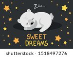 sleeping white polar bear with... | Shutterstock .eps vector #1518497276