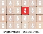 Small photo of Red wooden block with businessman icon stand out from the crowd, Leadership, dissenting opinion, divergent views and different concepts