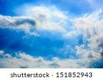 blue sky with clouds on sunny... | Shutterstock . vector #151852943