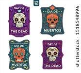 set of day of the dead  dia de... | Shutterstock .eps vector #1518548996