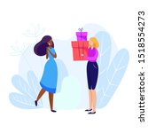 woman giving gifts to woman.... | Shutterstock .eps vector #1518554273