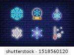 winter neon sign set with... | Shutterstock .eps vector #1518560120
