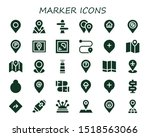 marker icon set. 30 filled...