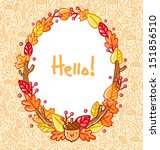 autumn doodle frame and... | Shutterstock .eps vector #151856510