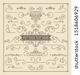 vintage set of swirls and... | Shutterstock .eps vector #1518606929