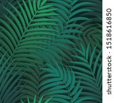 vector green palm leaf seamless ... | Shutterstock .eps vector #1518616850