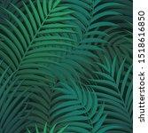 vector green palm leaf seamless ... | Shutterstock .eps vector #1518616850