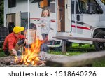 family rv road trip campsite.... | Shutterstock . vector #1518640226