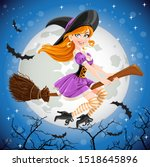 Red Haired Witch In Purple...
