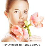 young beautiful woman holding... | Shutterstock . vector #151865978