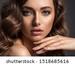 beautiful woman with brown hair.... | Shutterstock . vector #1518685616