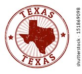 Grunge rubber stamp with the name and map of Texas, vector illustration