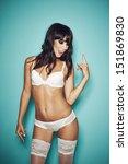 beautiful sexy brunette in...   Shutterstock . vector #151869830