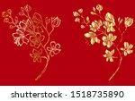free hand sakura flower vector... | Shutterstock .eps vector #1518735890