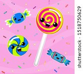 lollipop and sweets candy.... | Shutterstock .eps vector #1518750629