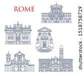 Rome landmark icons, travel famous sightseeing. Vector Italian Santa Maria della Vittoria and Andrea al Quirinale church, Basilica di San Giovanni in Laterano, Maria Maggiore and San Clemente