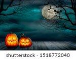 halloween backdrop with...   Shutterstock . vector #1518772040