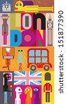 "London - vector illustration. Art composition, collage with inscription ""London"". - stock vector"