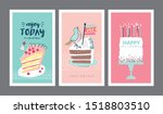 set of birthday greeting cards... | Shutterstock .eps vector #1518803510