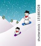 2 cute snowboarding snowmen in... | Shutterstock . vector #151883528
