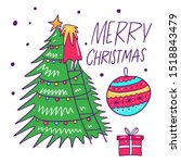 girl decorates a christmas tree.... | Shutterstock .eps vector #1518843479