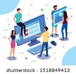 teamwork people with computer... | Shutterstock .eps vector #1518849413