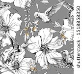 seamless floral pattern. exotic ...   Shutterstock .eps vector #1518858350