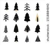set christmas forest tree fir... | Shutterstock .eps vector #1518884840
