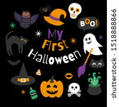 my first halloween   card ... | Shutterstock .eps vector #1518888866
