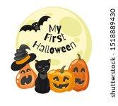 my first halloween  ... | Shutterstock .eps vector #1518889430