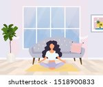young woman sitting in yoga... | Shutterstock .eps vector #1518900833
