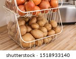 container with potatoes and...