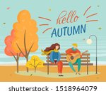people sitting on wooden bench... | Shutterstock .eps vector #1518964079