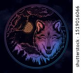 portrait of a wolf on a... | Shutterstock .eps vector #1519016066