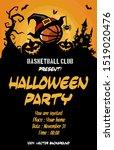 halloween pattern. basketball... | Shutterstock .eps vector #1519020476