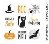 halloween icon set. cute... | Shutterstock .eps vector #1519021250
