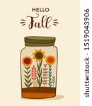 autumn cute illustration.... | Shutterstock .eps vector #1519043906