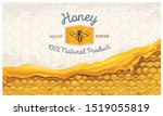 honey combs with honey  and a... | Shutterstock .eps vector #1519055819
