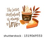 pumpkin spice latte and pie... | Shutterstock .eps vector #1519069553