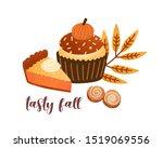 pumpkin spice pastry flat... | Shutterstock .eps vector #1519069556