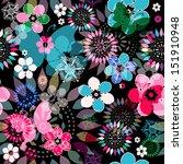 seamless dark floral pattern... | Shutterstock .eps vector #151910948