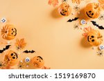 top view of halloween crafts ... | Shutterstock . vector #1519169870