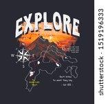 explore slogan on mountain...   Shutterstock .eps vector #1519196333
