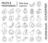 fruits and vegetables thin line ... | Shutterstock .eps vector #1519209989