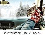 Winter Car Interior And Woman...