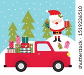 santa with his red truck brings ... | Shutterstock .eps vector #1519226510